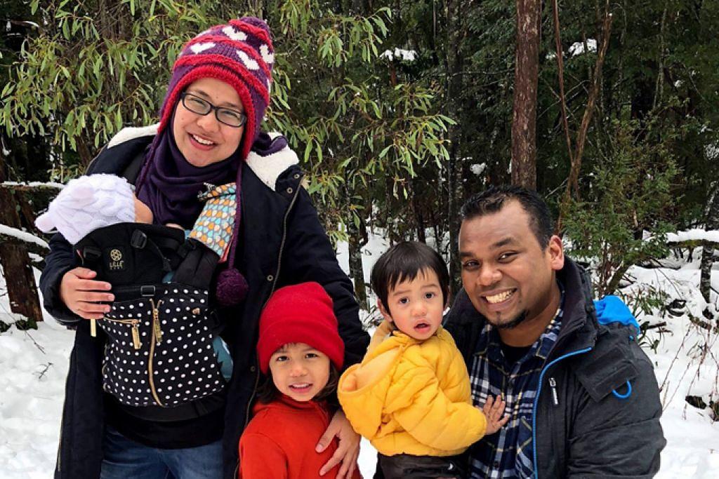 MASTAUTIN DI MELBOURNE: Encik Muhd Al Fasha Abdul Latiff bersama isterinya Cik Gamar Annisa Mohd Abdul Alim serta tiga orang anak mereka - (dari kiri) Amar Ikhlas, Alysha Iman dan Al Ihsan - kini bermastautin di Melbourne, Australia, sejak awal tahun ini. - Foto ihsan MUHD AL FASHA ABDUL LATIFF