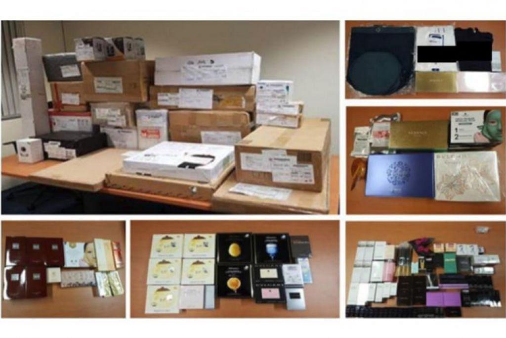 Telefon bimbit, komputer, kosmetik pelbagai jenama, beg tangan, pakaian dan beberapa kotak berisi barangan elektrik dan elektronik dirampas.