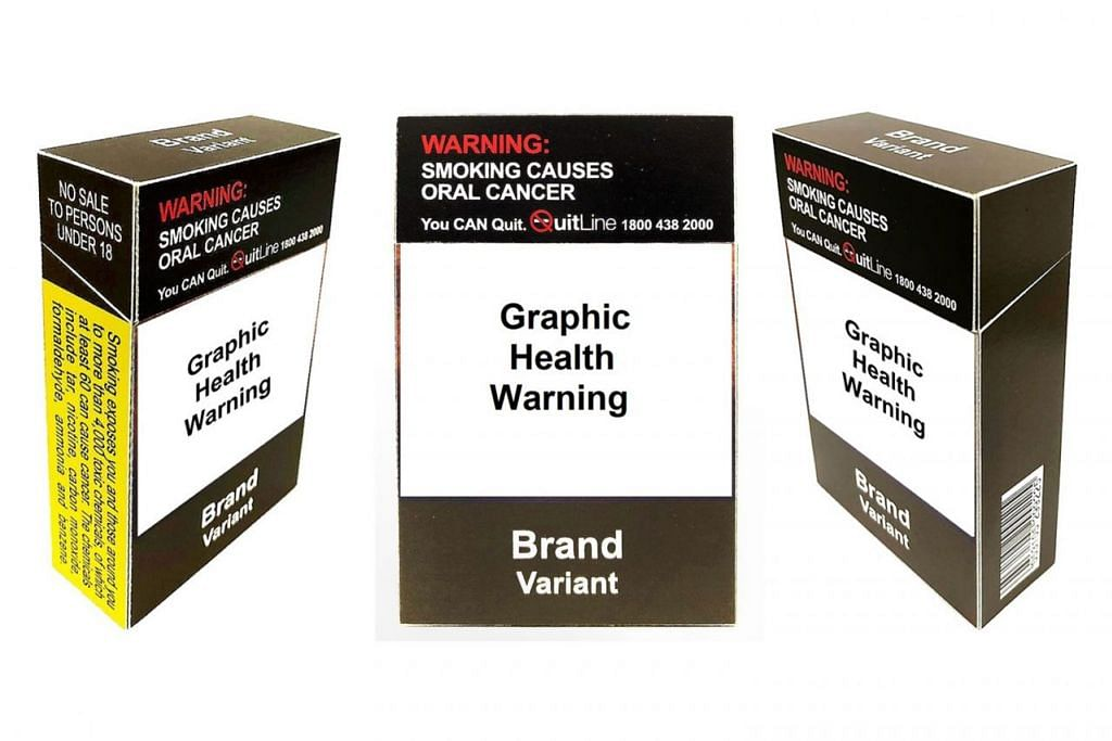 BAHAYA ROKOK: Gambar menunjukkan rekaan disaran bagi kotak rokok tidak kira jenama yang dijual di Singapura. - Foto MOH