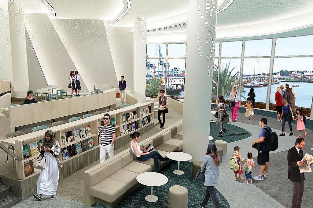 TEMPAT BARU: Jumlah pengunjung ke perpustakaan baru di VivoCity Mall, dekat stesen MRT HarbourFront, apabila dibuka 12 Januari depan dijangka mencapai 1.5 juta - meningkat tiga kali ganda berbanding seramai 500,000 orang yang mengunjungi Perpustakaan Awam Bukit Merah tahun lalu. - Foto LEMBAGA PERPUSTAKAAN NEGARA