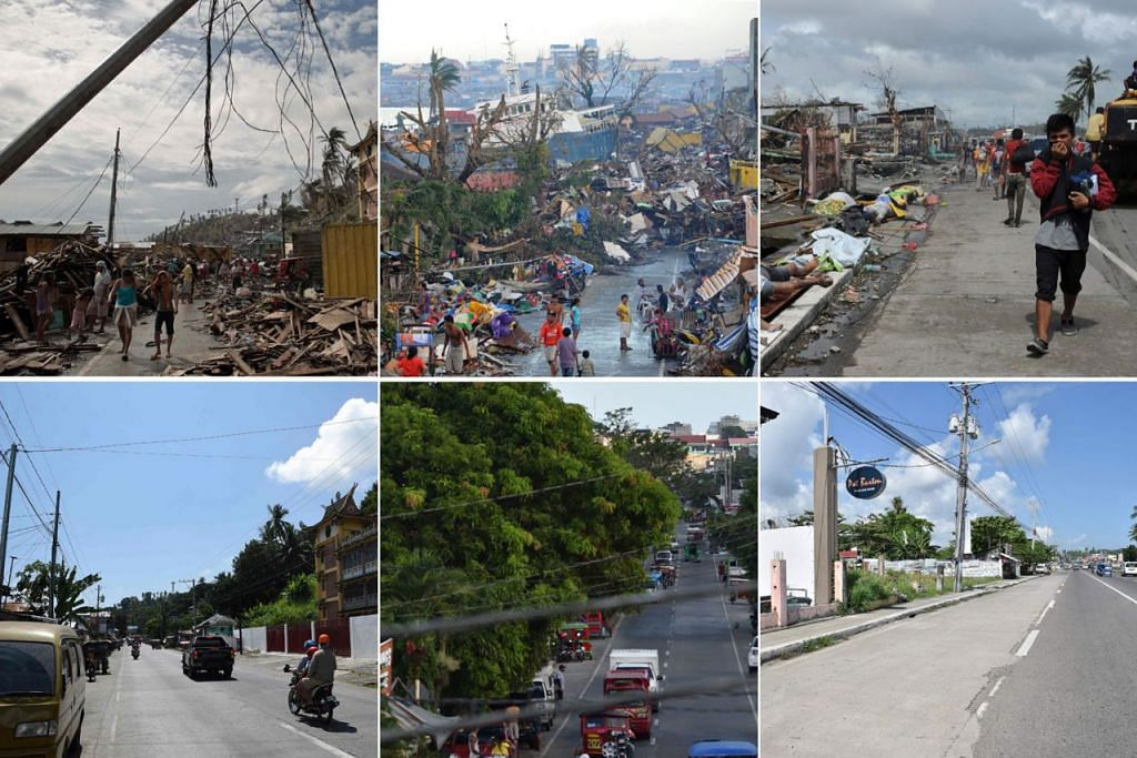 SUASANA BEZA: Gambar barisan atas semua menunjukkan kemusnahan yang dibawa Taufan Haiyan ke Bandar Tacloban, Filipina, pada 2013. Gambar barisan bawah menampilkan kawasan sama baru-baru ini. - Foto-foto AFP
