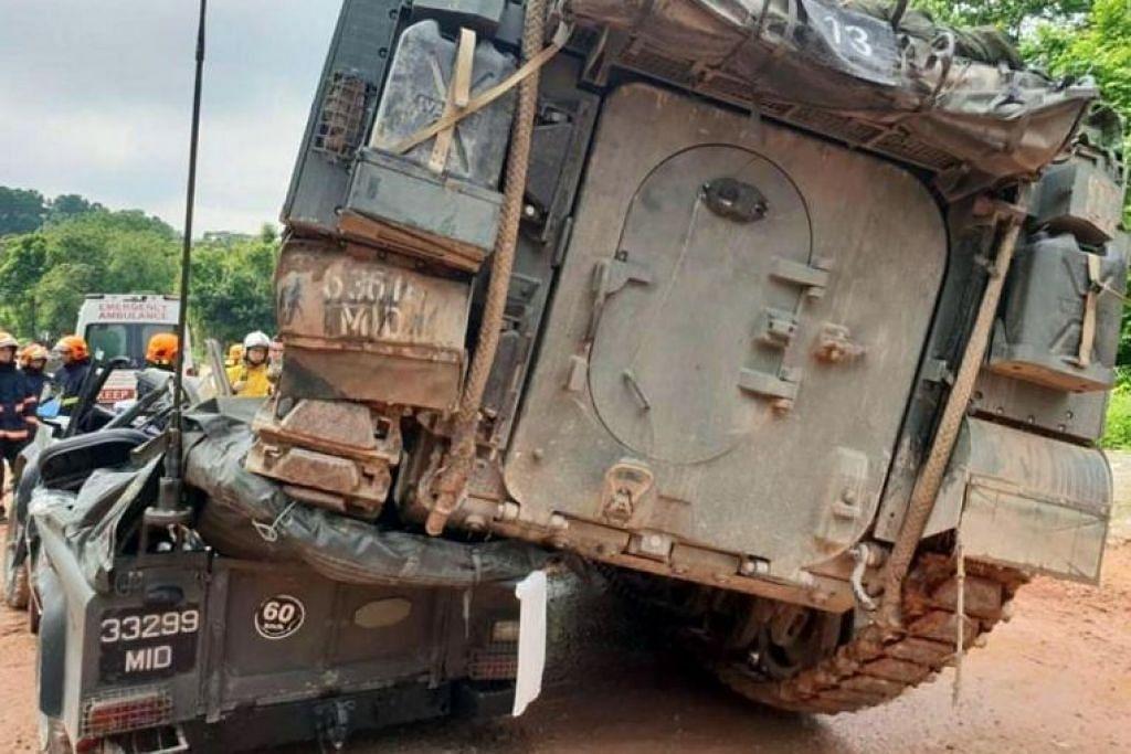 Salah satu gambar yang disebarkan di media sosial menunjukkan kenderaan Bionix di atas Land Rover yang remuk.