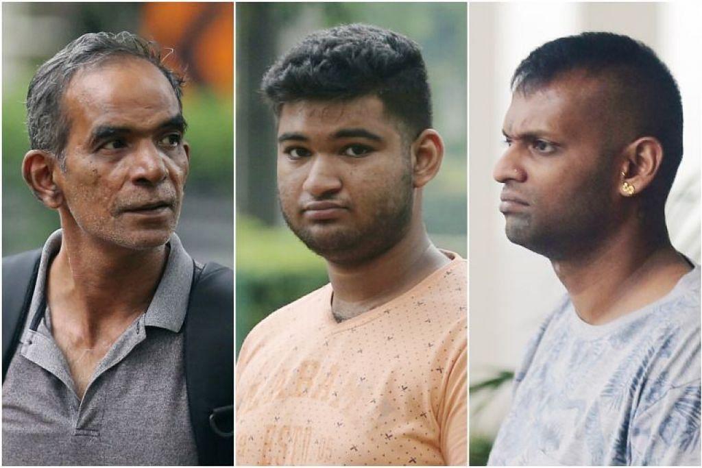 (Dari kiri) Alagappan Singaram, A Hariprasanth, Jeevan Arjoon and Elvis Xavier Fernandez (tiada dalam gambar) dituduh menyalakan bunga api berbahaya dalam insiden berasingan.
