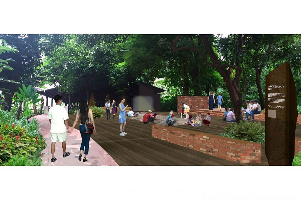 DIPERLUASKAN BAGI KEGIATAN INTERAKTIF: Lakaran pelukis bagi tapak baru pameran Penggalian Arkeologi yang juga menempatkan sebuah kebun dan lubang pasir bagi kegiatan menyerupai penggalian arkeologi sebenar. - Foto NPARKS