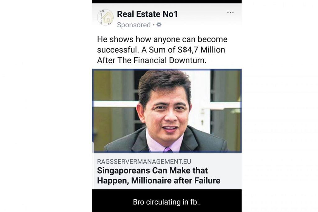 TIADA KAITAN: Tangkap layar di media sosial yang kaitkan Zack Zainal dengan iklan cepat kaya, dengan Zack tegas berkata beliau tiada kaitan dengan laman web itu. - FACEBOOK ZACK ZAINAL