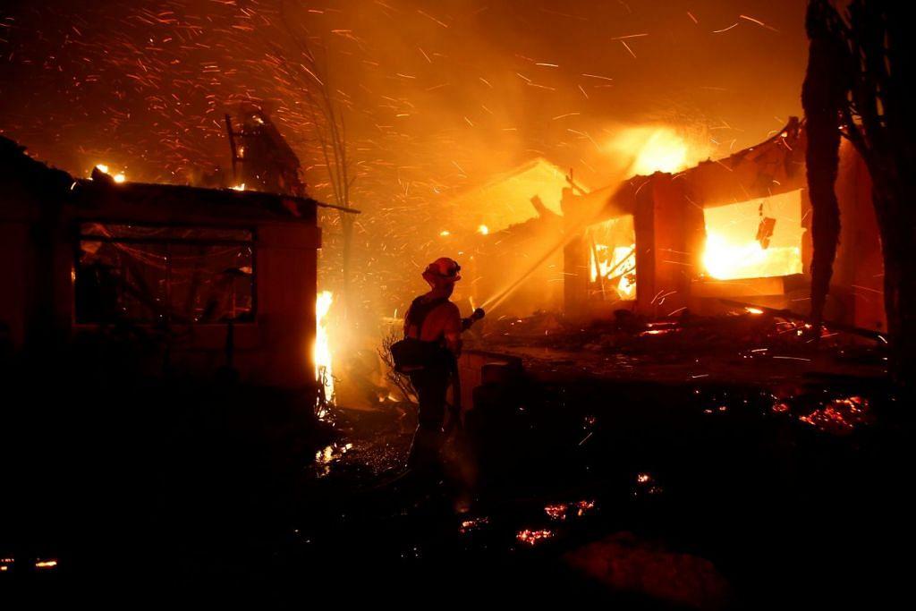 Kebakaran hutan yang berlaku di California kini antara yang terburuk dari segi kemusnahan dalam sejarah negeri itu. FOTO: REUTERS