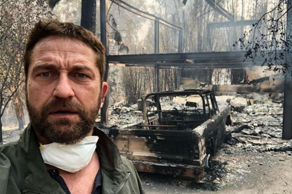 "RUMAH HERO HANGUS: Pelakon Gerard Butler berkata dalam sebuah video Instagram bahawa rumahnya di Malibu, California, ""separuh hilang"" dijilat api. – Foto GERARD BUTLER/ INSTAGRAM"