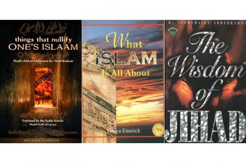 Majlis Ugama Islam Singapura (Muis) berkata tiga buku ini menggalakkan idea berbahaya yang diedarkan secara meluas dalam kalangan radikal untuk membenarkan jenayah dan keganasan. FOTO: Muis