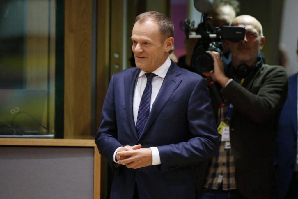 Pengerusi EU Donald Tusk berkata kumpulan negara EU telah mengesahkan perjanjian Brexit dengan London. Foto: REUTERS