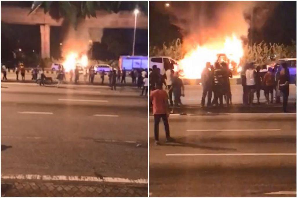 Video mengenai insiden bantahan di Petaling Jaya yang tular menunjukkan orang ramai menjadi agresif dan bersorak sambil kenderaan dibakar. FOTO: TANGKAP LAYAR DARI FACEBOOK/ JEYA SAKTI DURGA