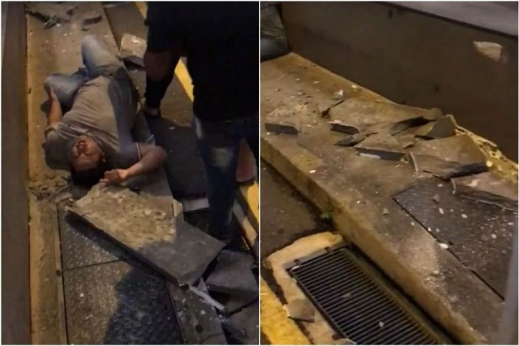 Seorang lelaki warga Malaysia mengalami kecederaan tulang belakang selepas konkrit jatuh terkena dirinya di luar Wanderlust Hotel di Little India. FOTO: FACEBOOK/ LEE HWA