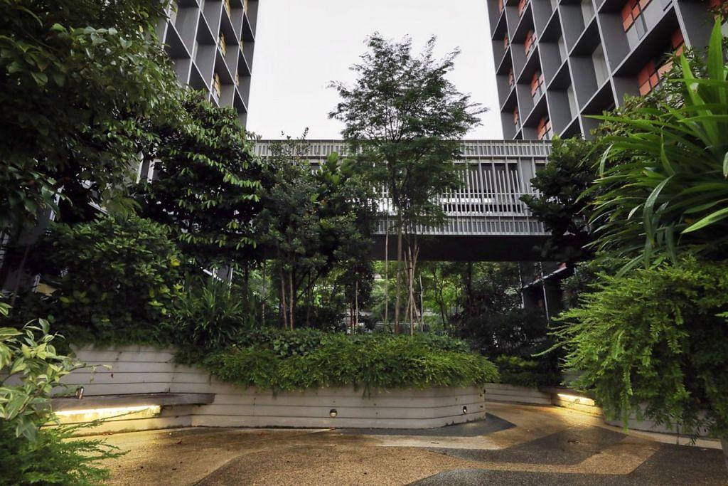 TIDAK MEMBOSANKAN: Salah sebuah daripada taman di Kampung Admiralty yang menyegarkan mata dan minda. - Foto BH oleh GAVIN FOO
