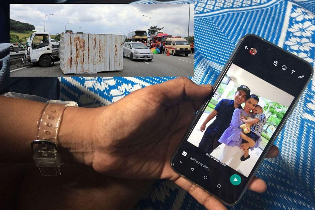 TERKENANG ADIK KESAYANGAN: Encik Mohd Yusri (tidak mahu digambar) menunjukkan foto adik bongsunya, Allahyarhamha Serina Mat Idris, bersama suami, Encik Ahmad Sumidja, dan anak kecil mereka yang berusia 22 bulan. Allahyarhamha Serina meninggal dunia setelah tercampak keluar dari bas dalam kemalangan yang berlaku di Lebuh Raya Utara Selatan dekat Seremban, Negeri Sembilan, Malaysia, pada Jumaat lalu (gambar sisipan). - Foto BH oleh NUR FATHIN AWALLUDIN, Foto ZAOBAO