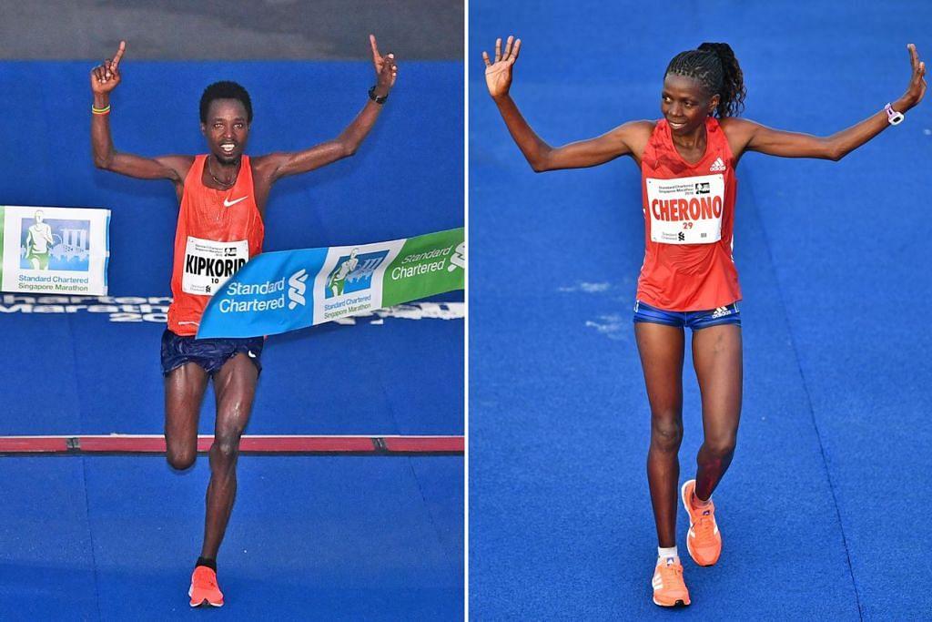 JUARA: Pelari Kenya Joshua Kipkorir (kiri) dan Priscah Cherono masing-masing muncul juara kategori elit lelaki dan wanita dalam acara larian Maraton Standard Chartered Singapura (SCSM) kelmarin. - Foto-foto BH oleh LIM YAOHUI