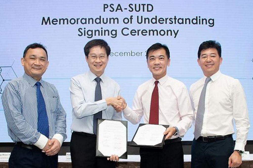 PERJANJIAN KERJASAMA: (Dari kiri) Pengarah penyelidikan dan kerjasama perusahaan di SUTD, Dr Wong Woon Kwong; Professor Chong Tow Chong, Encik Ong Kim Pong dan ketua sumber manusia PSA, Encik Ng Kok Cheong di majlis menandatangani MOU. - Foto PSA