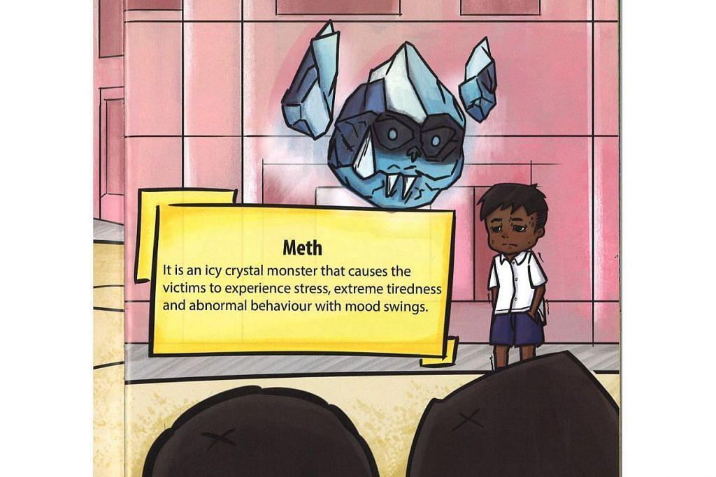 KENALI 'METH': Selain jalan cerita menarik, buku 'Captain Drug Buster' ' juga menyelitkan maklumat mengenai beberapa jenis dadah seperti 'meth' atau lebih dikenali sebagai Ice, ganja dan heroin – Foto CNB