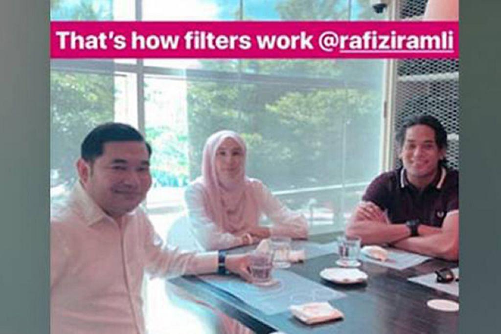 SEKADAR MAKAN BERSAMA?: (Dari kiri) Encik Rafizi, Cik Nurul Izzah dan Encik Khairy dilihat di Restoran Alexis, Pusat Beli-Belah Bangsar - Foto INSTAGRAM KHAIRYKJ