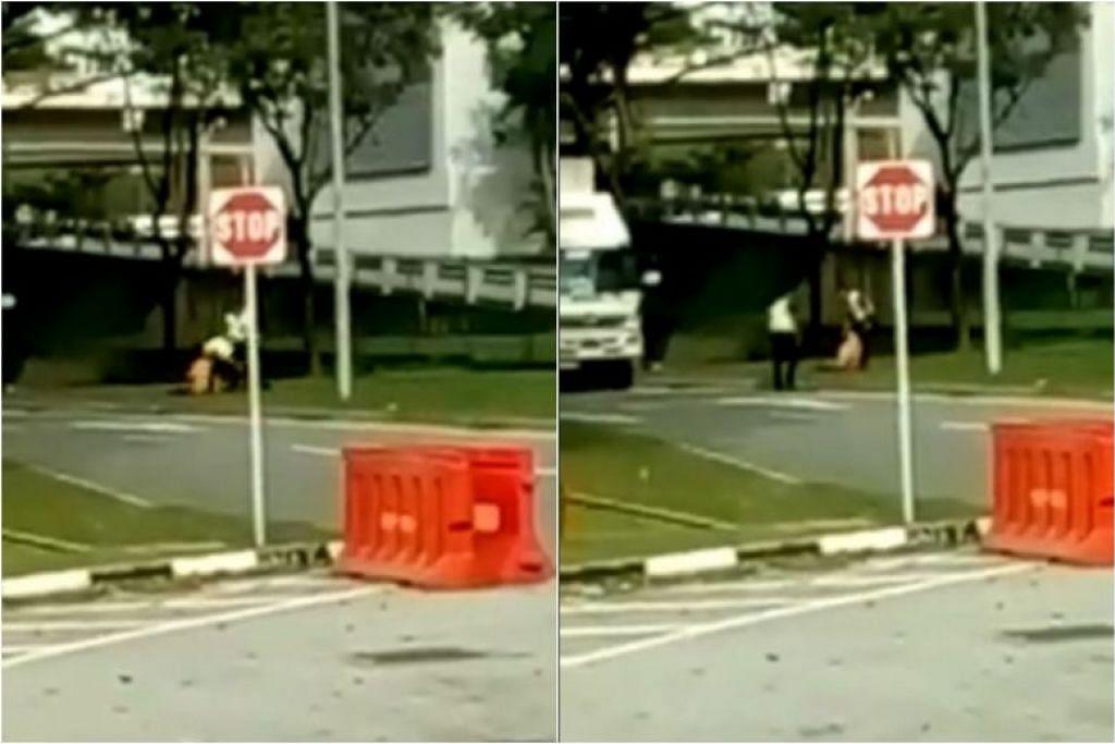 Video tersebut menunjukkan pegawai yang didakwa 'menerkam' pemandu trak. Foto: FACEBOOK/ALL SINGAPORE STUFF