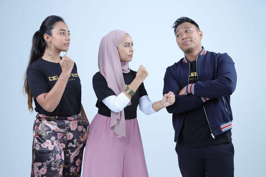 TANGKAS BERBICARA: (Dari kiri) Azura Goh, Amyrah Mustafa dan Hans Hamid sudah bersedia mencungkil kisah artis di pentas 'CelebFest 2018' dari esok hingga Ahad ini. - Foto ROSEVALLEY