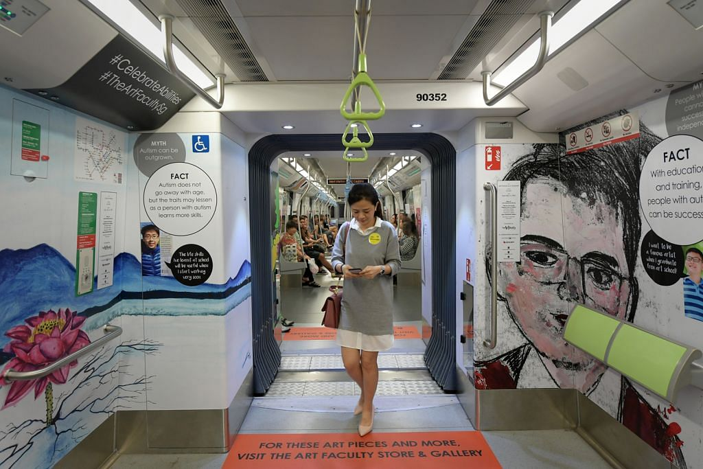 Satu gerabak kereta api, 4 stesen MRT papar hasil seni pelajar autisme