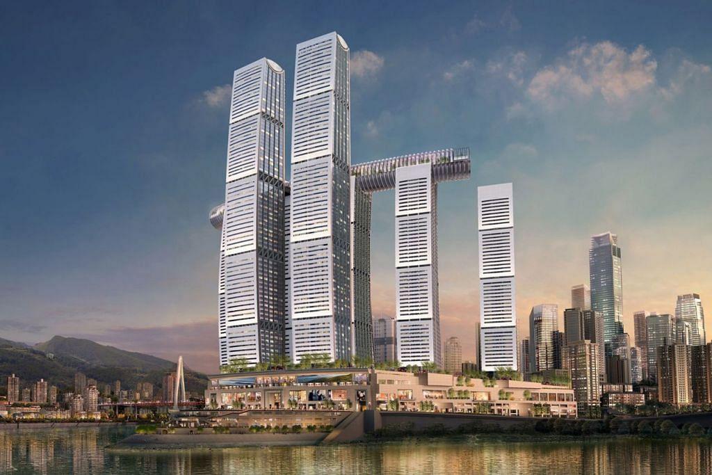 KUKUH OPERASI DI CHINA: CapitaLand yang memiliki projek Raffles City Chongqing ini, akan dapat mengukuhkan operasinya di China jika rancangan pembelian Ascendas dan Singbridge menjadi kenyataan. - Foto CAPITALAND