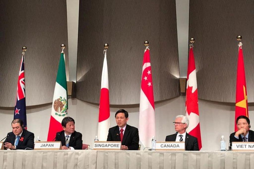 (Dari kiri) Menteri Perdagangan New Zealand Encik David Parker, menteri Ekonomi Perdagangan, Industri Jepun, Encik Toshimitsu Motegi, Encik Chan, Menteri Diversikasi Perdagangan Antarabangsa Canada Encik Jim Carr dan Menteri Perdagangan dan Perusahaan Vietnam Encik Tran Tuan Anh.