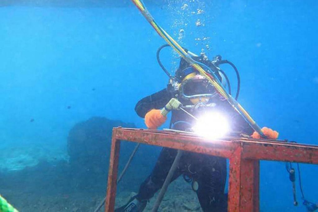 TUGAS MENCABAR: Cik Bassant melakukan tugas mematri di bawah laut. - Foto FACEBOOK BASSAND AL-BESTAW, AL-AHRAM WEEKLY