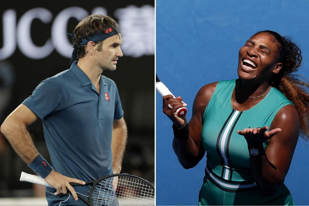 UCAP SELAMAT TINGGAL: Pemenang 20 trofi Grand Slam, Roger Federer (kiri, gambar atas) dan pemenang 23 Grand Slam, Serena Williams (kanan, gambar atas), dikejutkan seteru masing-masing. - Foto EPA-EFE, REUTERS & AFP