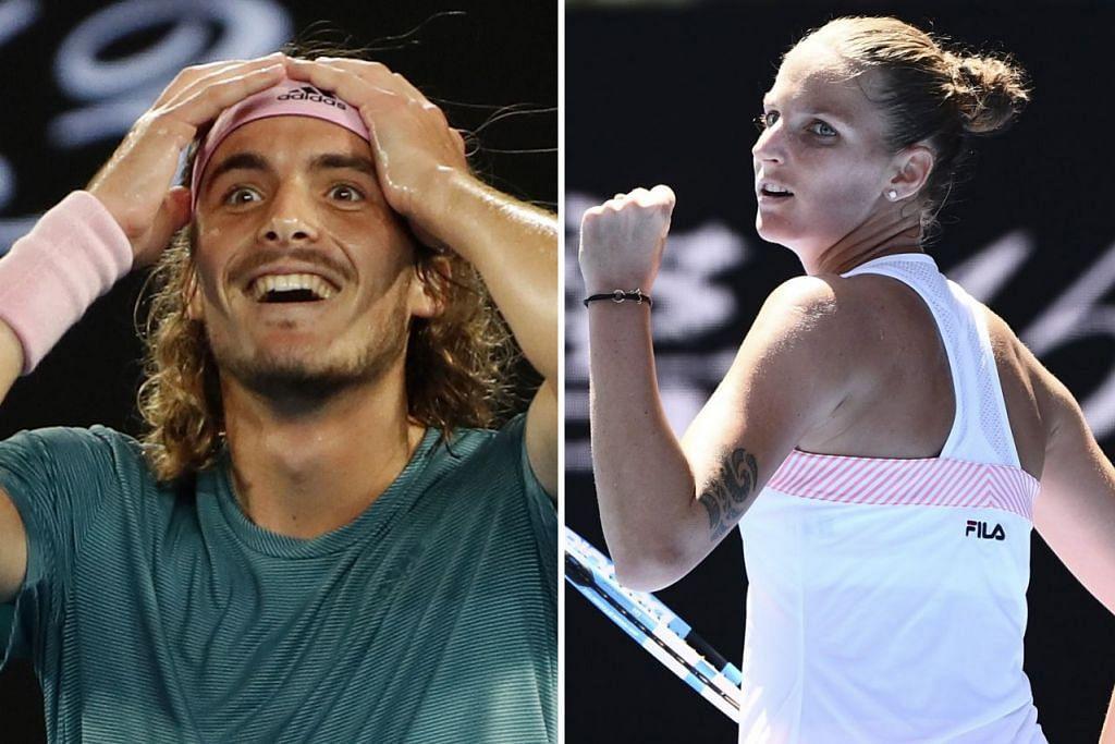 BINTANG BARU: Federer tewas kepada pemain muda Greece, Stefanos Tsitsipas (kiri), manakala Serena mensia-siakan kedudukan selesa sebelum tewas kepada Karolina Pliskova dari Czech (kanan).- Foto REUTERS & AFP