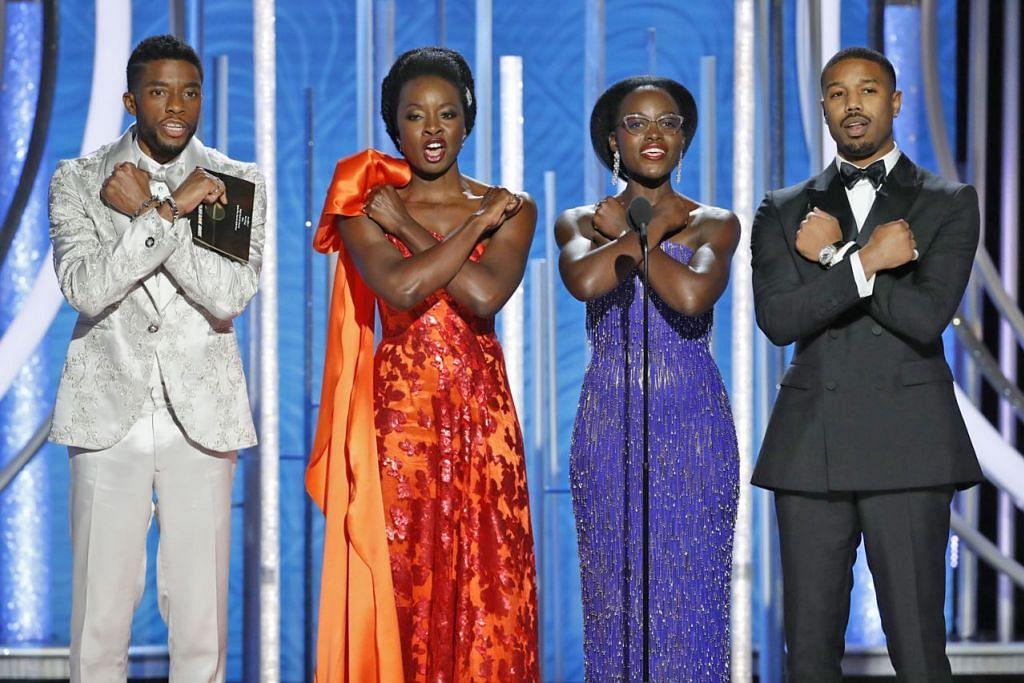WAKANDA FOREVER: Pelakon filem 'Black Panther' menyerikan Anugerah Golden Globe ke-76 – (dari kiri) Chadwick Boseman, Danai Gurira, Lupita Nyong'o dan Michael B. Jordan. Filem tersebut mencipta sejarah sebagai filem Marvel bertema adiwira yang pertama dicalonkan dalam kategori Filem Terbaik Oscar. – Foto REUTERS