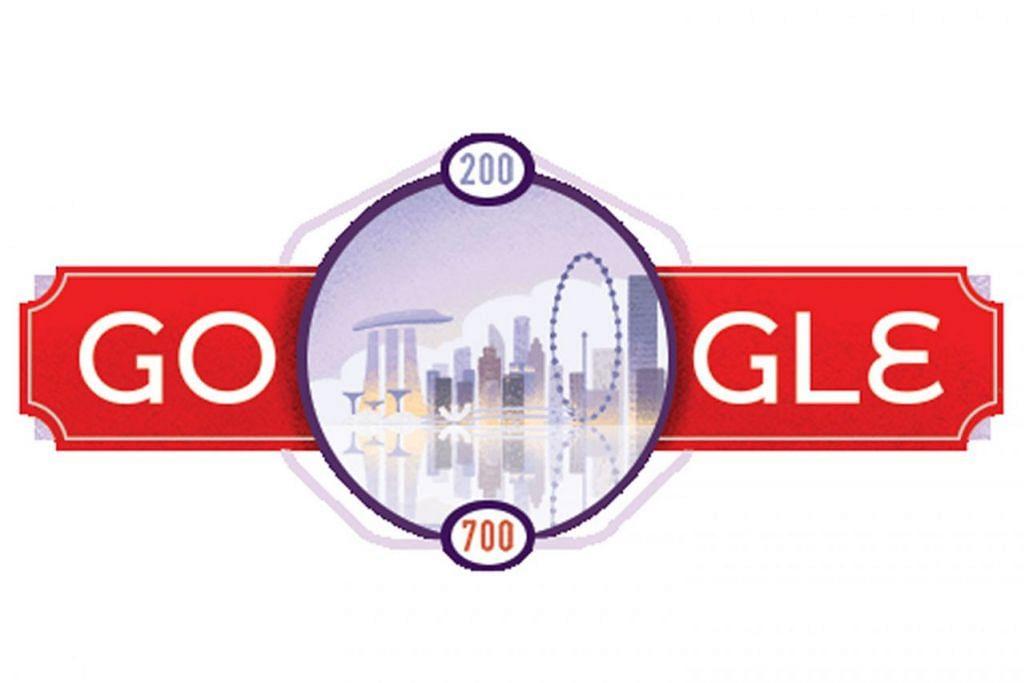 SESUAI DENGAN BICENTENNIAL: Logo yang memuatkan reka bentuk latar langit Singapura ini dapat dilihat pengguna tatkala mereka lungsuri laman utama Google.