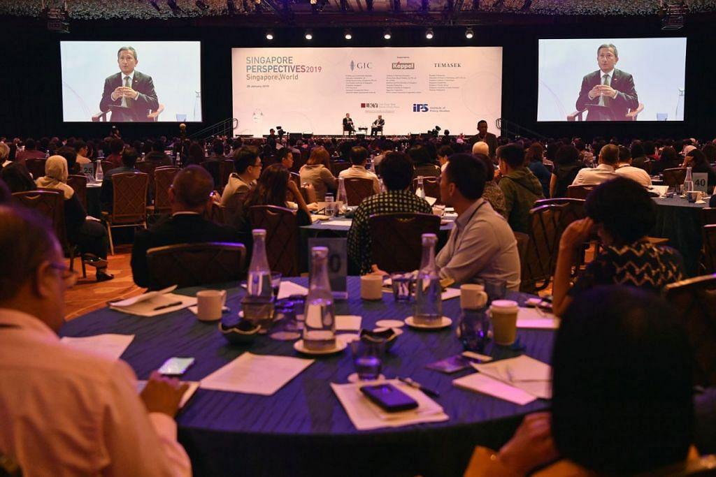 SERTAI SIDANG: Sekitar 1,200 peserta hadiri sidang Perspektif Singapura 2019: Singapura.Dunia di Marina Bay Sands semalam.  - Foto BH oleh CHONG JUN LIANG