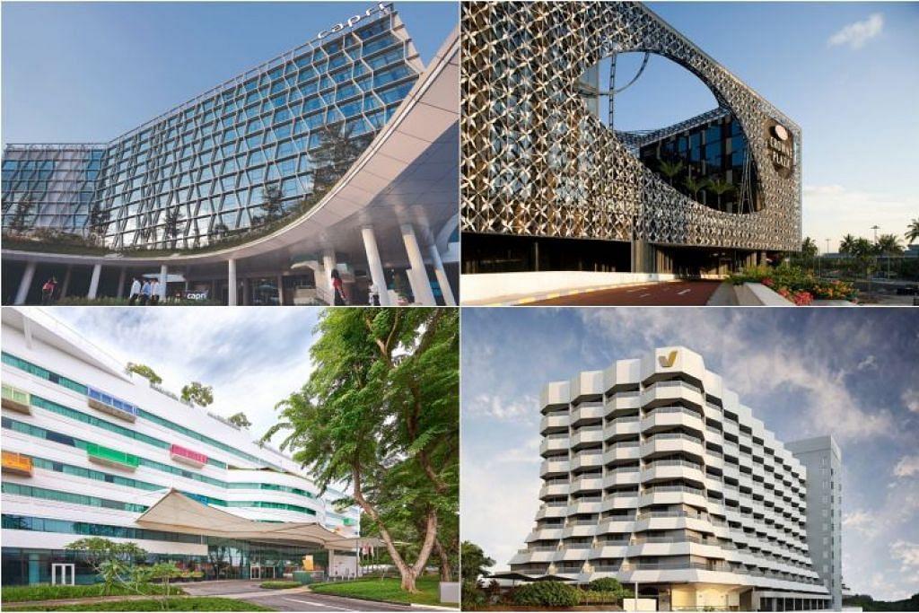 Empat hotel itu ialah:  (ikut putaran jam, dari kiri atas) Capri by Fraser Changi City Singapore, Hotel Crowne Plaza Changi Airport, Village Hotel Katong dan Village Hotel Changi.