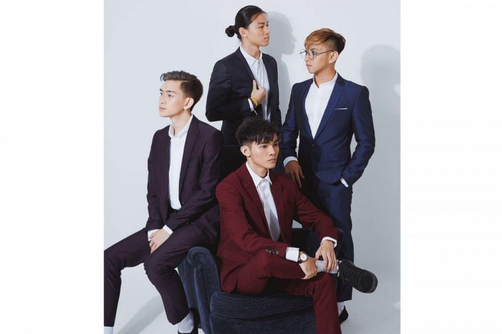 PENGARUH K-POP: Insomniacks (dari kiri mengikut putaran jam) Wan Arif Iskandar, Gavin Wong, Ahmad Danial dan Syed Mir Iqbal mengikut cita rasa masa kini yang menggemari trend dan pengaruh muzik Korea. - Foto SONY MUSIC MALAYSIA