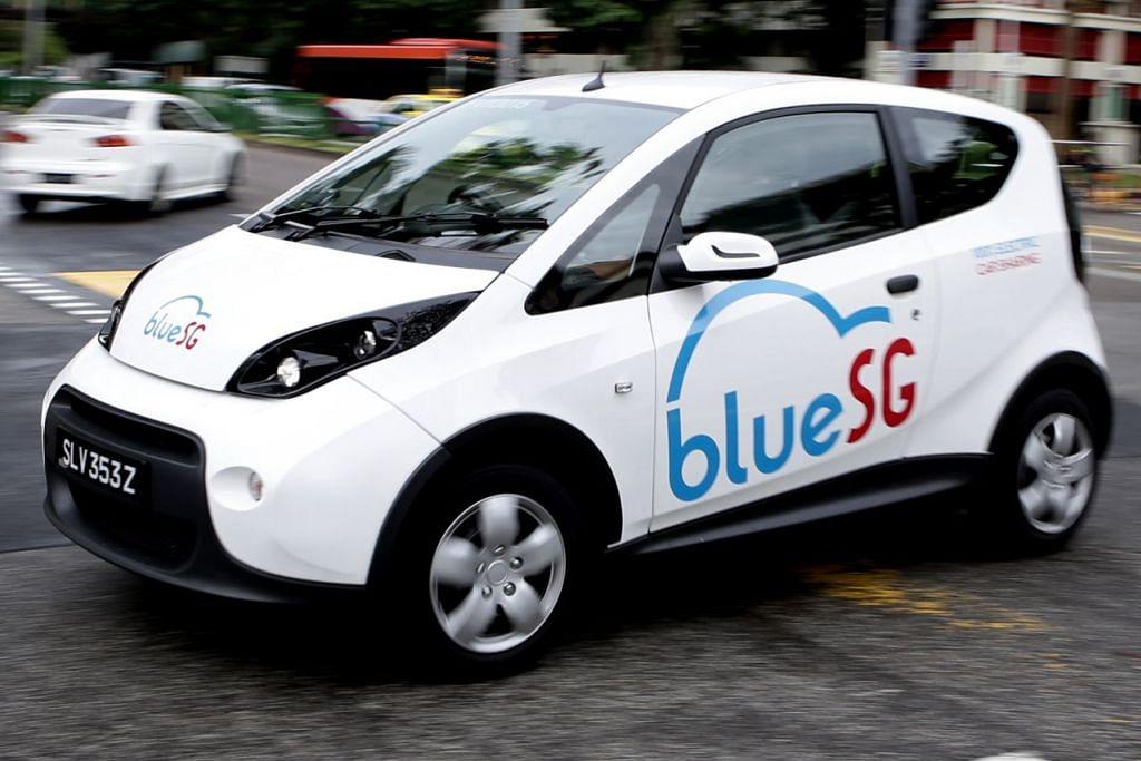 Kongsi kereta elektrik - KONGSI KERETA: Bagi pengguna yang lebih selesa menyewa, BlueSG adalah khidmat kereta sewa elektrik pertama yang dilancarkan di Singapura. Dengan melanggani khidmat itu pelanggan akan mempunyai akses kepada rangkaian 1,000 kenderaan elektrik yang boleh dikongsi 24 jam sehari, 7 hari seminggu, dengan kewujudan tempat ambil dan kembalikan kereta di serata pulau. - Foto fail