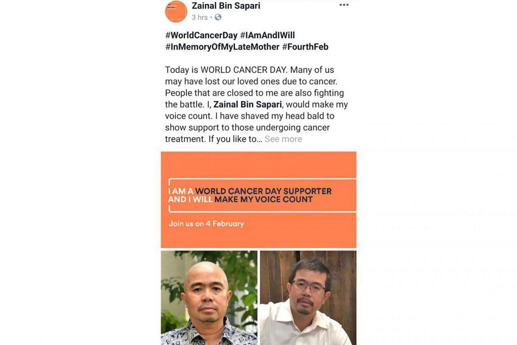 BERI SOKONGAN: Encik Zainal memuatnaikkan gambar beliau sebelum dan selepas membotakkan kepala di media sosial Facebook demi memberi sokongan kepada pesakit barah yang sedang menjalani rawatan. - Foto FACEBOOK ZAINAL SAPARI