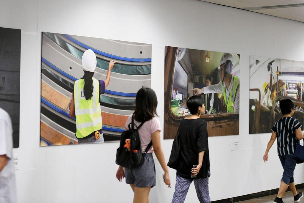 DI BALIK TABIR: Pameran berjudul Show The Full Picture yang dipamerkan di beberapa stesen MRT ini mengetengahkan sekitar 40 gambar yang menyingkap kerja binaan yang dijalankan pada Laluan Thomson-East Coast. - Foto BH oleh SAHIBA CHAWDHARY
