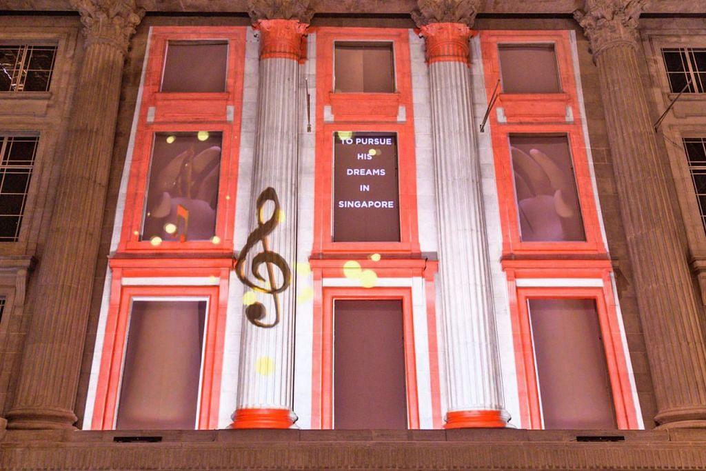 PERSEMBAHAN UNIK: Encik Safuan Johari, kurator bersama projek persembahan pancaran lampu, Art Skins on Monuments, sebahagian daripada Festival 'Light to Night' edisi Bicentennial Singapura, bertanggungjawab mempamerkan 'Sayang di Sayang' yang dipancarkan di Padang Atrium di Galeri Nasional Singapura (gambar atas). Ia menceritakan perjalanan Allahyarham Zubir Said daripada seorang pemuzik muda di Sumatera, Indonesia, yang kemudian menjadi komposer lagu kebangsaan Singapura. - Foto GALERI NASIONAL SINGAPURA