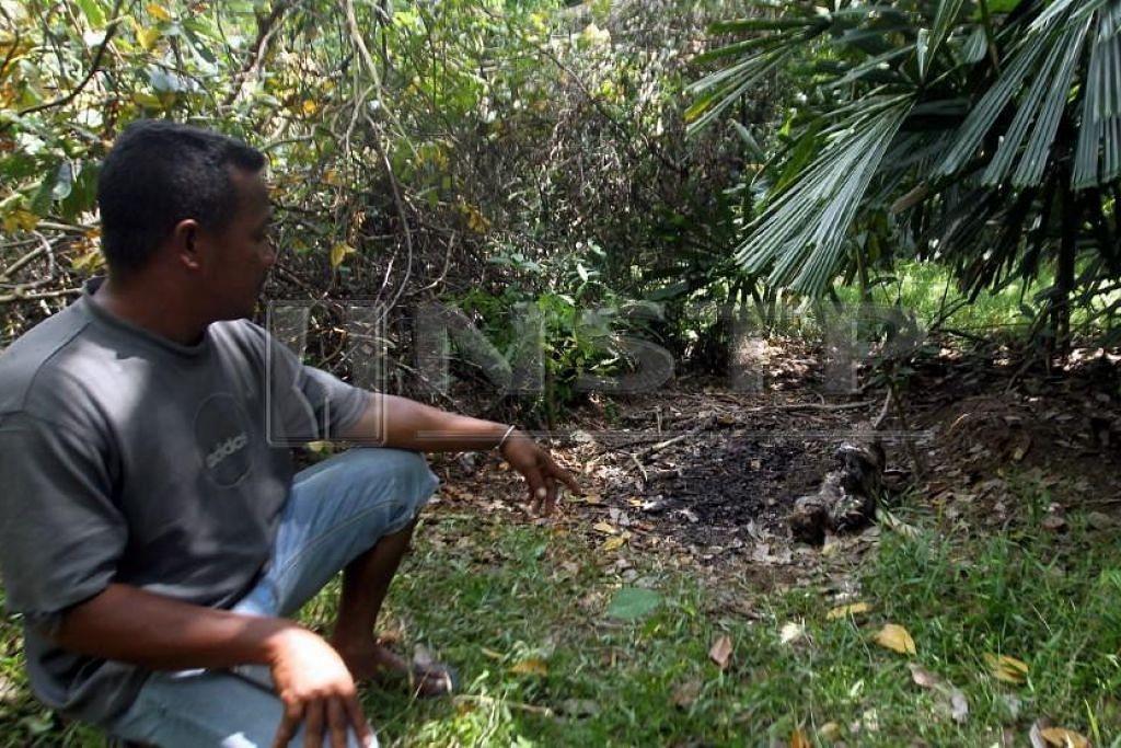 Penduduk kampung, Encik Mohd Rosli Mat Rasat, menunjukkan tempat mayat Siti Masyitah Ibrahim ditemui.