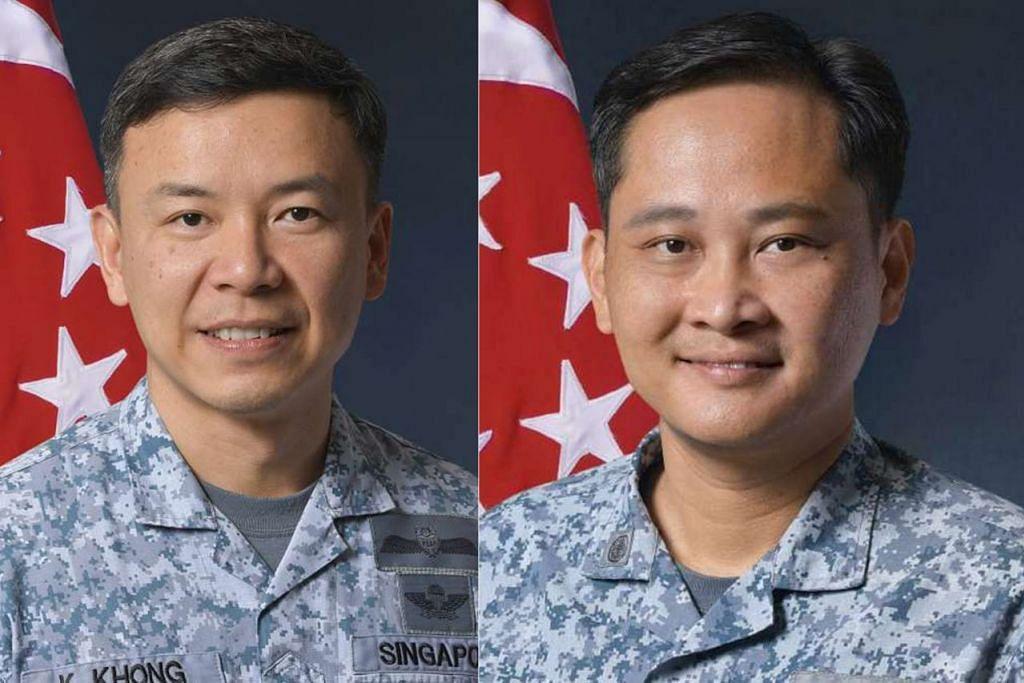 AMBIL ALIH TUGAS: BG Kelvin Khong Boon Leong (kiri) akan mengambil alih jawatan Panglima Tentera Udara dari MG Mervyn Tan (kanan) yang akan mengundurkan diri pada 22 Mac ini. - Foto MINDEF