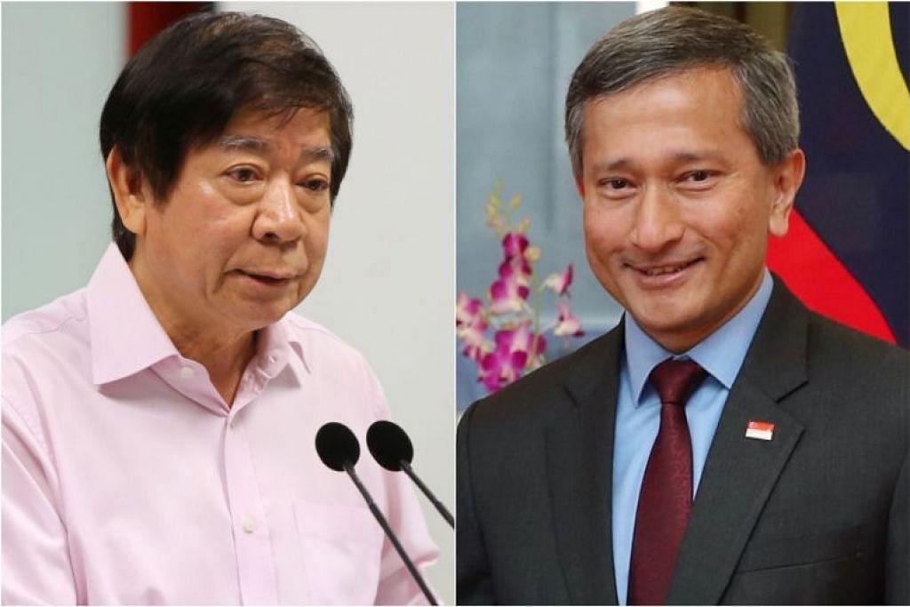 Sedang Menteri Pengangkutan Khaw Boon Wan (kiri) menerima rawatan, Menteri Ehwal Luar Vivian Balakrishnan telah dilantik sebagai Pemangku Menteri bagi Pengangkutan dalam rundingan dua hala Singapura-Malaysia.
