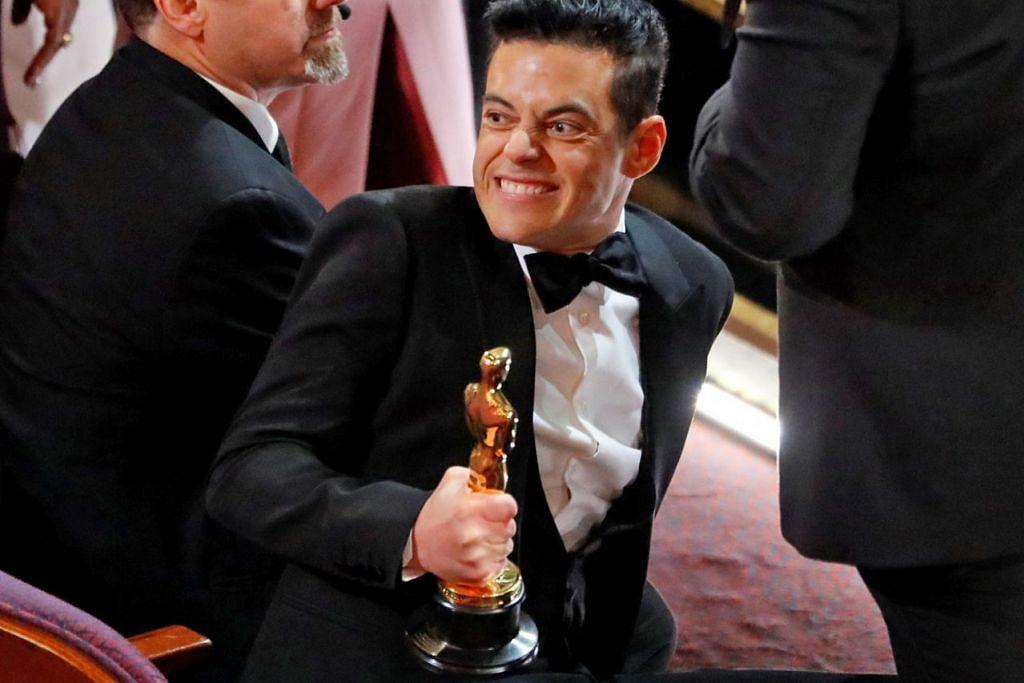RAMI MALEK: Membuat ramai terkejut kerana terjatuh selepas menangi Anugerah Pelakon Lelaki Terbaik.