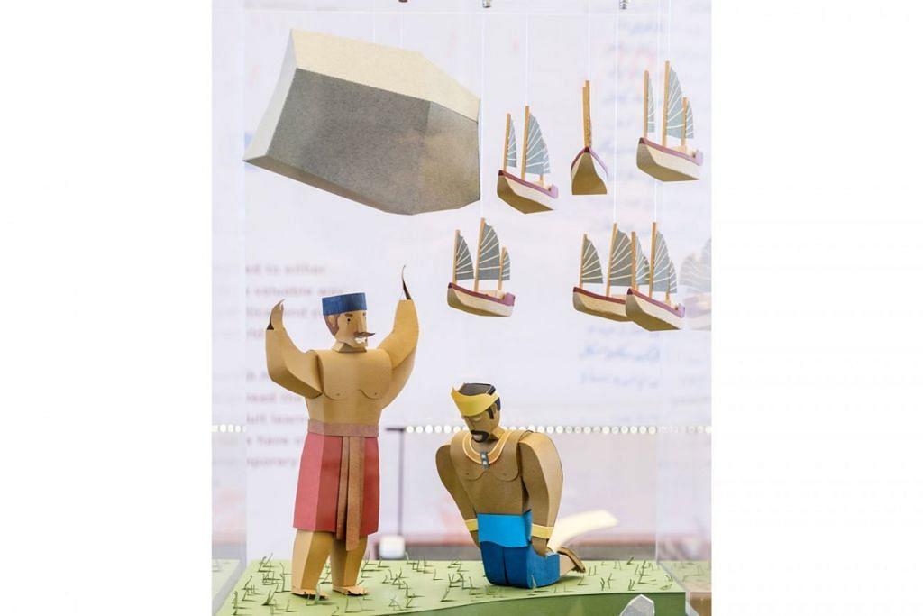 KISAH-KISAH LEGENDA: Kisah-kisah yang dipaparkan dalam teks tersebut termasuk kisah Badang 'direalisasikan' melalui arca atau skulptur yang dibuat daripada kertas.- Foto NLB