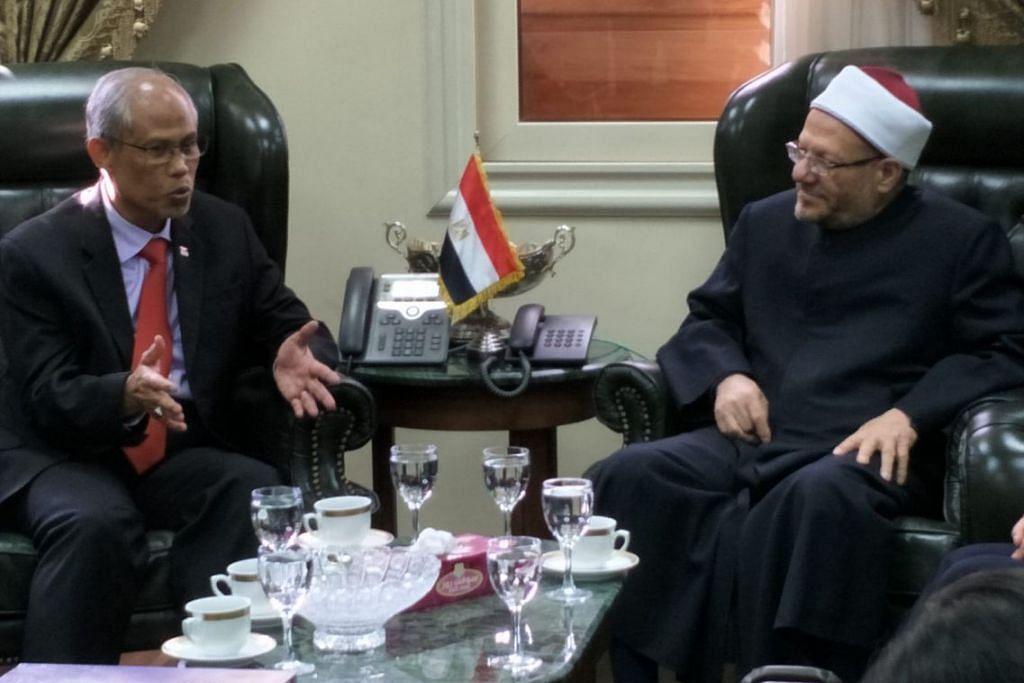 SALAM MUHIBAH: Encik Masagos mengunjungi Mufti Besar Mesir Dr Shawki Ibrahim Abdul Kareem 'Allam setibanya di Kaherah, pada Ahad (10 Mac).