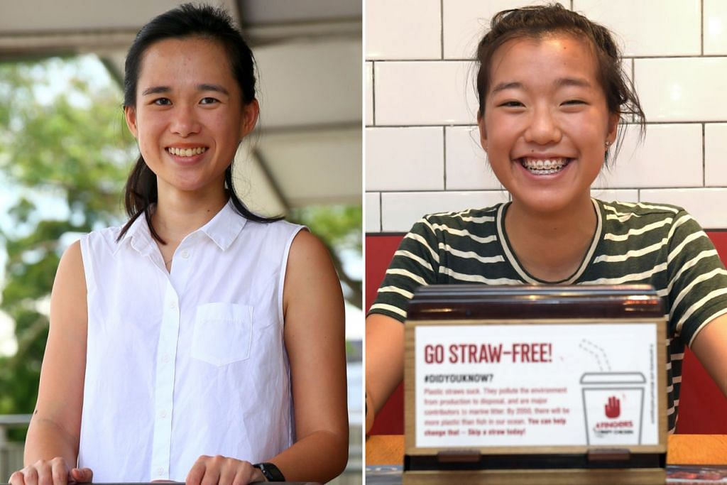 PERJUANG ALAM SEKITAR: Cik Pamela Low (kiri) dan Ang Zyn Yee memulakan kempen mesra alam sekitar di Singapura tahun lalu. - Foto-foto fail