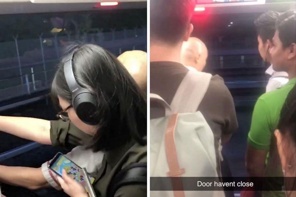 MENGEJUTKAN: Video media sosial ini menunjukkan gambar satu bahagian pintu masih terbuka luas apabila MRT bergerak dari stesen Ang Mo Kio ke Yio Chu Kang. - Foto TANGKAP LAYAR TWITTER/HADY MATYNN