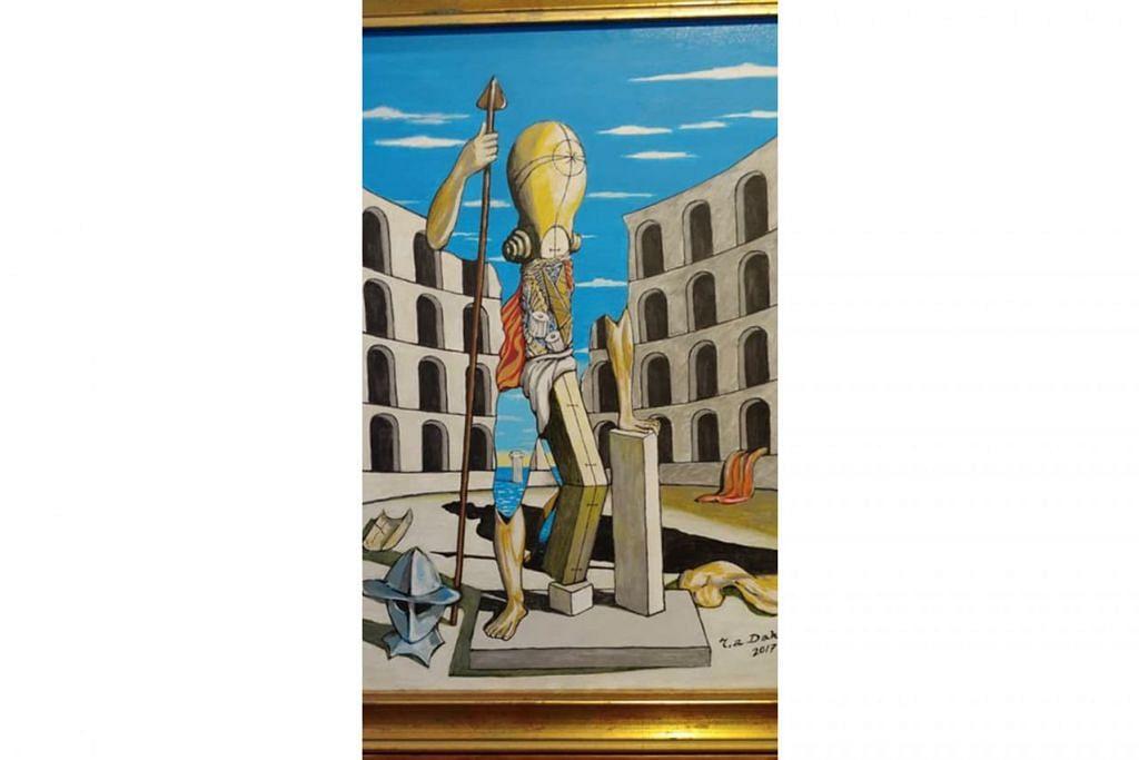 'CHIRICO'S ARENA': Lukisan memberi penghormatan kepada pelukis 'surreal' dari Greece, mendiang Georgio DeChirico, yang gigih berjuang di medan seni. - Foto ihsan ROSIHAN DAHIM