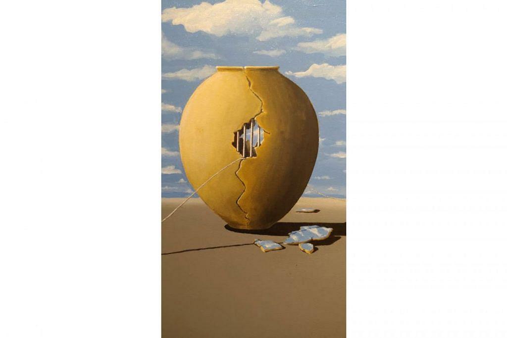 'LIFE IN A POT': Kebebasan dalam kehidupan dan keinginan mengamati dunia luar menjadi teras lukisan ini. - Foto ihsan ROSIHAN DAHIM