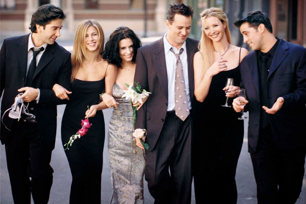 TERUS DIMINATI: Sitkom Friends yang dibintangi (dari kiri) David Schwimmer, Jennifer Aniston, Courteney Cox, Matthew Perry, Lisa Kudrow dan Matt LeBlanc menyambut ulang tahun ke-25 tahun ini. - Foto NBC.