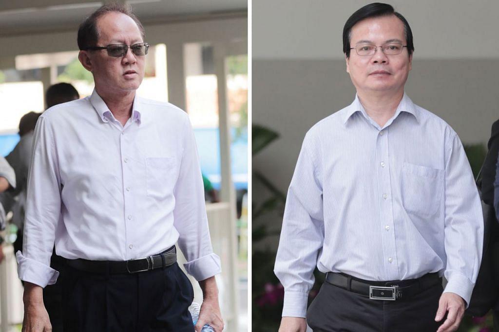 MAKAN SUAP: Wong Chee Meng (kanan), bekas pengurus besar Majlis Bandaran Ang Mo Kio, menggunakan kedudukannya untuk mempengaruhi hasil keputusan tender seperti mengarahkan kakitangan mengubah markah tender agar berpihak kepada Chia Sin Lan, pengarah dua syarikat binaan. - Foto-foto BH oleh KELVIN CHNG